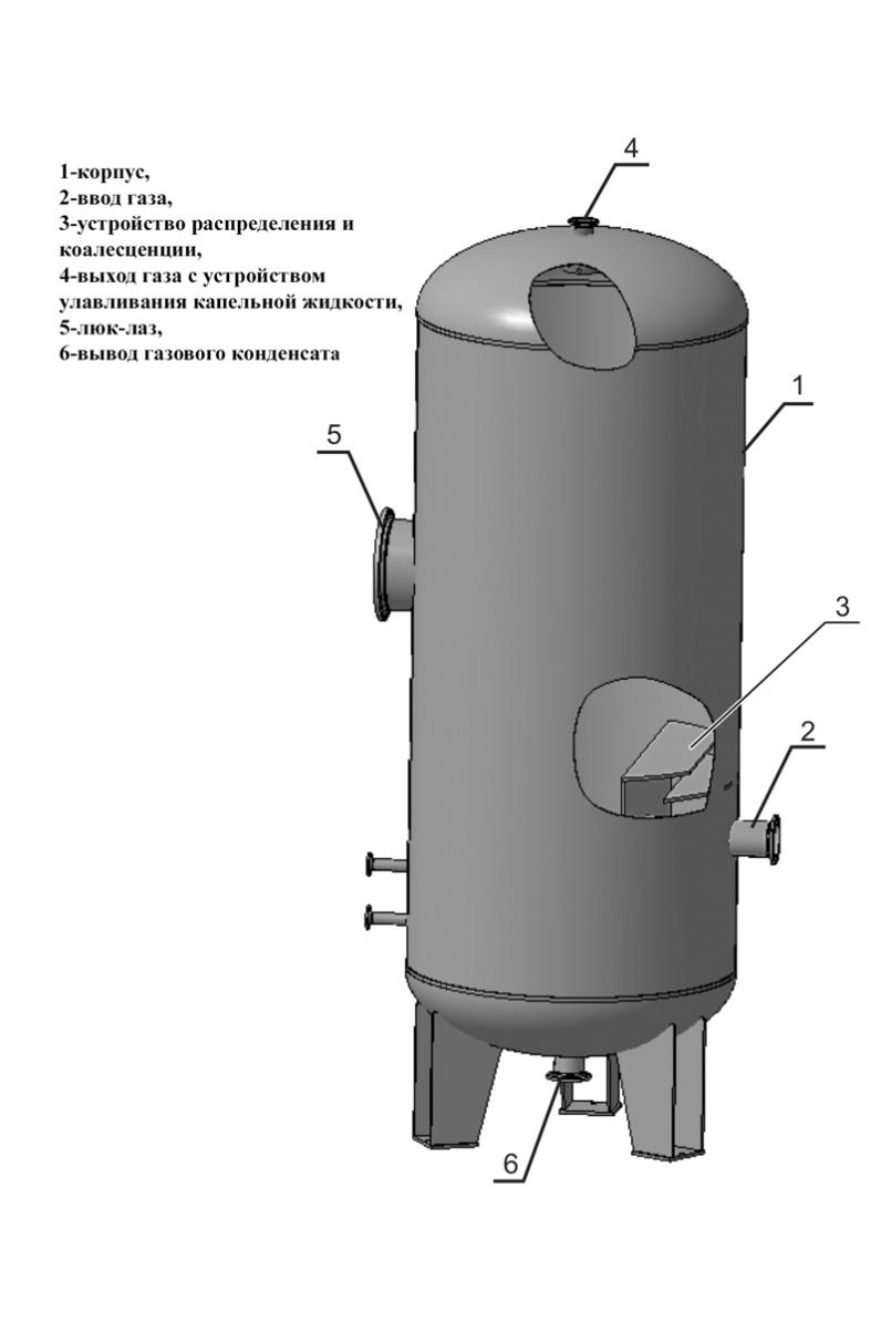 Вертикальный нефтегазовый сепаратор
